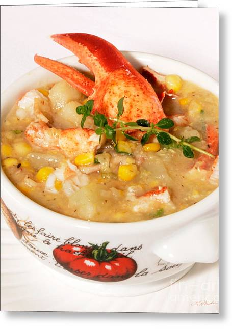 Lobster Chowder With Corn And Poblano Peppers Greeting Card