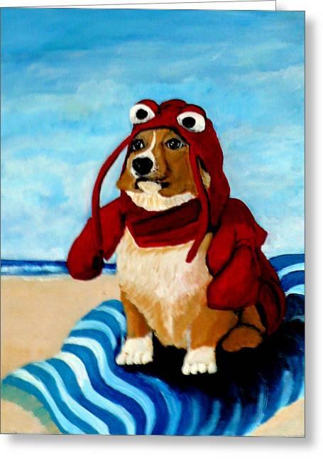 Lobster Corgi On The Beach Greeting Card