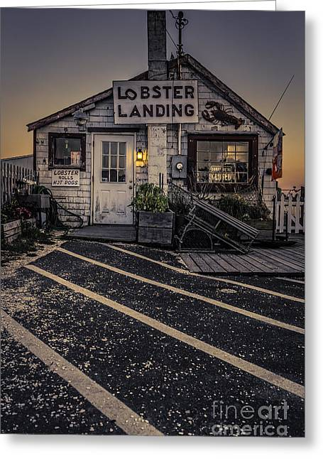 Lobster Landing Shack Restaurant At Sunset Greeting Card