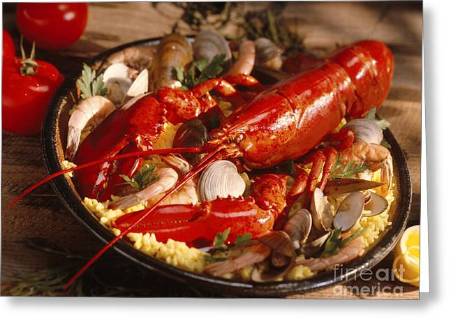 Lobster Paella Greeting Card by Iris Richardson