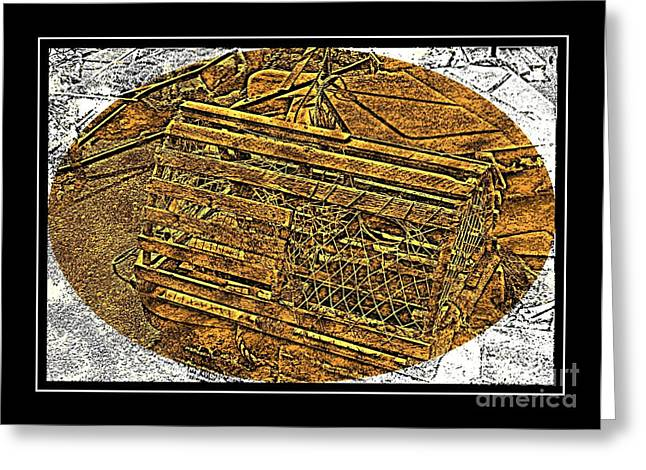 Lobster Pot - Brass Etching Greeting Card by Barbara Griffin