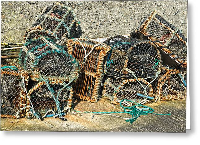 Lobster Pots Greeting Card by Jane McIlroy