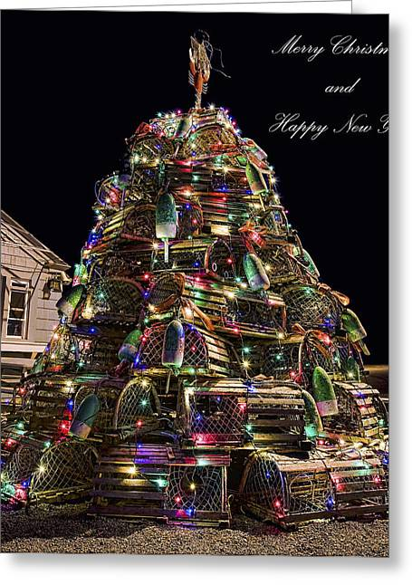 Greeting Card featuring the photograph Lobster Trap Christmas Tree Card by Richard Bean