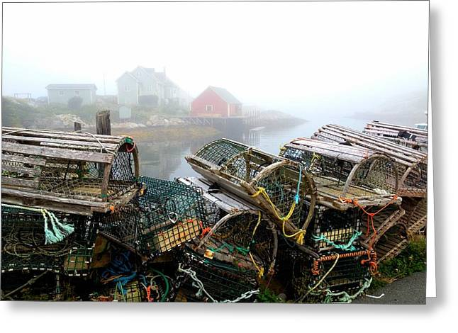 Lobster Traps And Fog Greeting Card by Tracy Munson