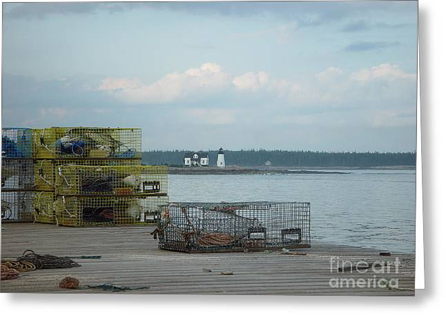 Lobster Traps At Prospect Harbor Wharf Greeting Card by Christopher Mace