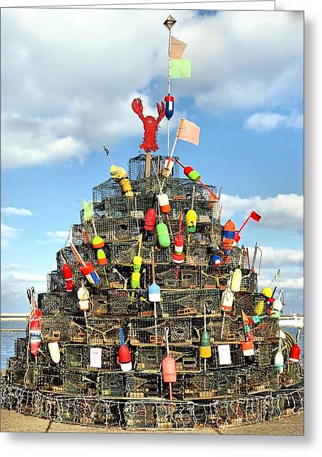 Lobster Traps Christmas Tree Greeting Card
