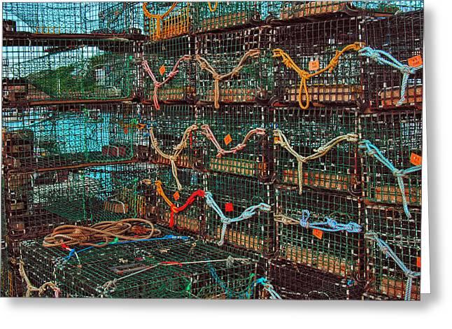 Lobster Traps Greeting Card by Joann Vitali