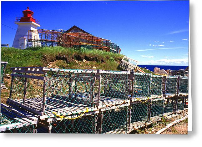 Lobster Traps Neils Harbour Lightstation Greeting Card by Thomas R Fletcher