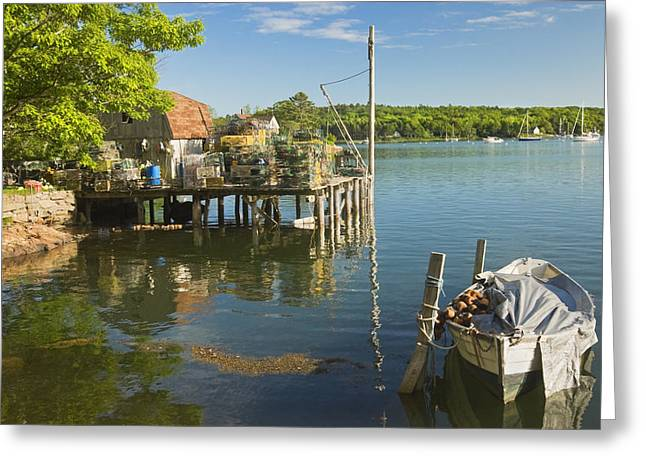 Lobster Traps On Pier In Round Pound On The Coast Of Maine Greeting Card by Keith Webber Jr