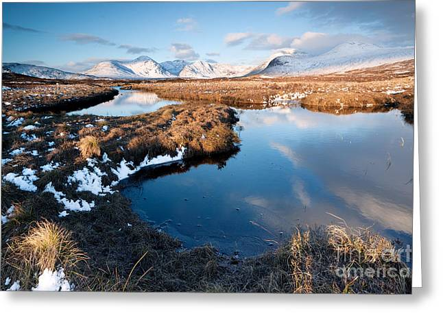 Loch In The Scottish Highlands With Mountain Range Reflected Greeting Card by Matteo Colombo