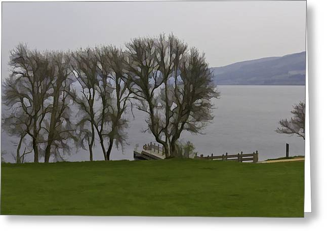 Loch Ness And Boat Jetty Next To Urquhart Castle Greeting Card