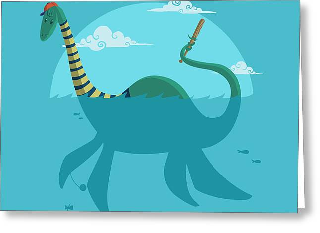Greeting Card featuring the digital art Loch Ness Monster by Michael Myers