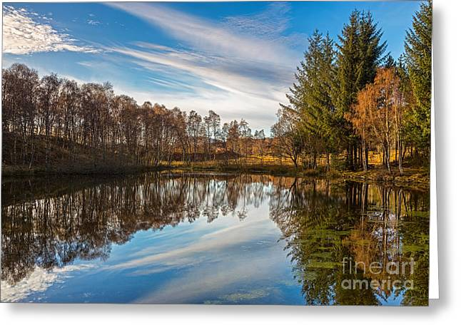 Lochan Reflections Greeting Card by Mike Stephen