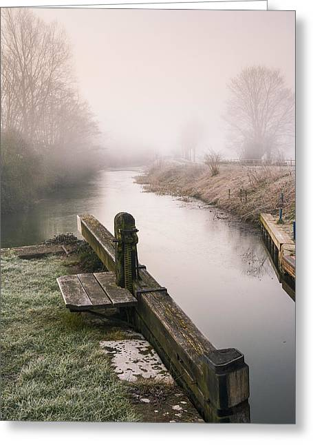 Greeting Card featuring the photograph Lock Gates On A Still Misty Morning. by Trevor Chriss