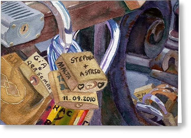 Greeting Card featuring the painting Locks Of Luck by Lynne Reichhart