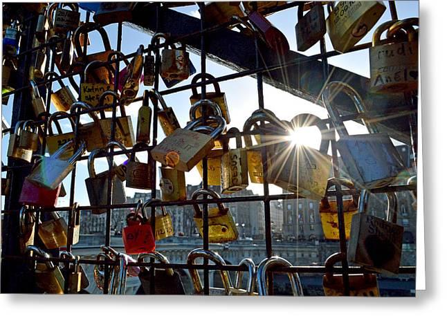 Lock Up Paris Greeting Card by Stephen Richards