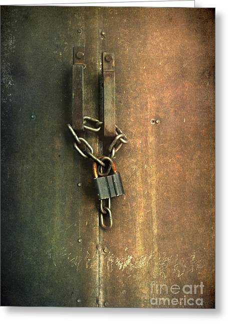 Locked Gate With A Keychain And Keylock Greeting Card