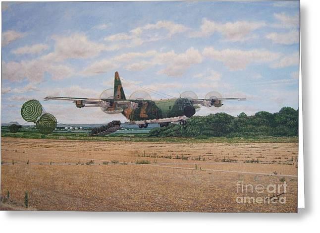 Lockhead C-130h Hercules Leipes Greeting Card by Carlos De Vasconcelos Tavares