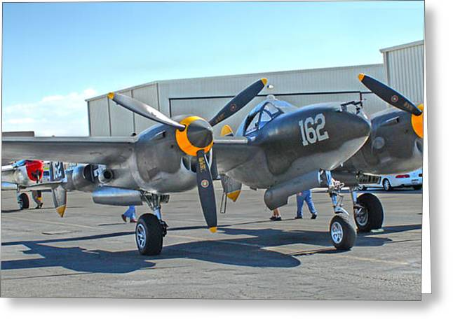 Lockheed P-38 - 162 Skidoo - 06 Greeting Card by Gregory Dyer