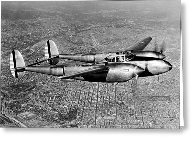 Lockheed P-38 Lightning Fighter Greeting Card by Underwood Archives