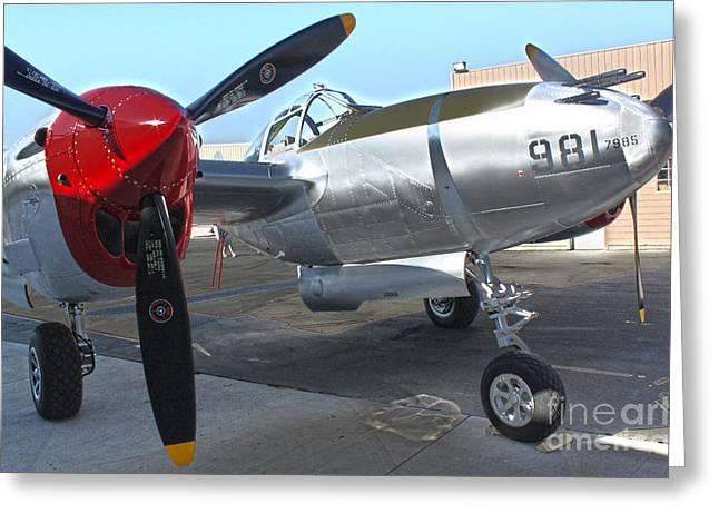 Lockheed P-38l Lightning Honey Bunny  - 03 Greeting Card by Gregory Dyer