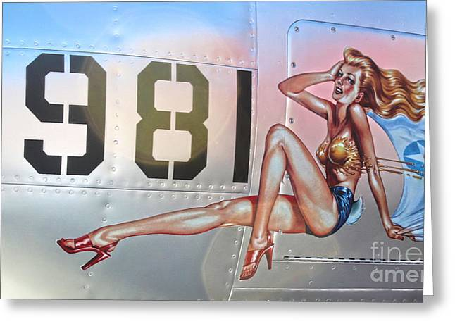 Lockheed P-38l Lightning Honey Bunny Nose Art - 02 Greeting Card by Gregory Dyer