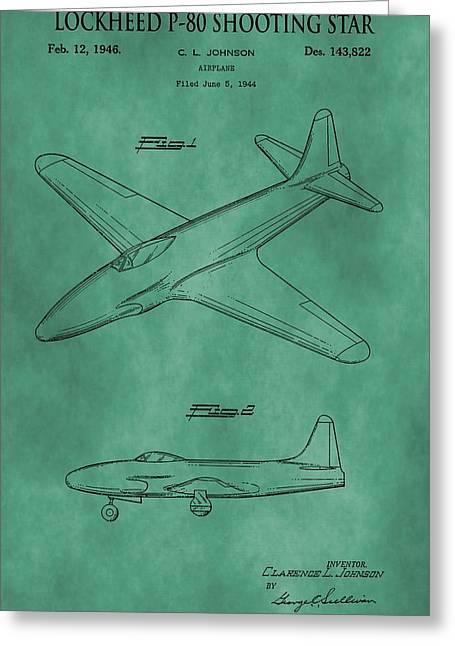 Lockheed P-80 Patent Green Greeting Card