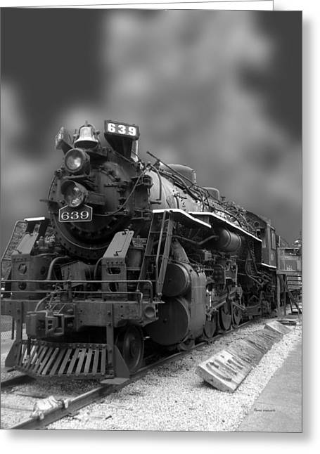 Locomotive 639 Type 2 8 2 Front And Side View Bw Greeting Card by Thomas Woolworth