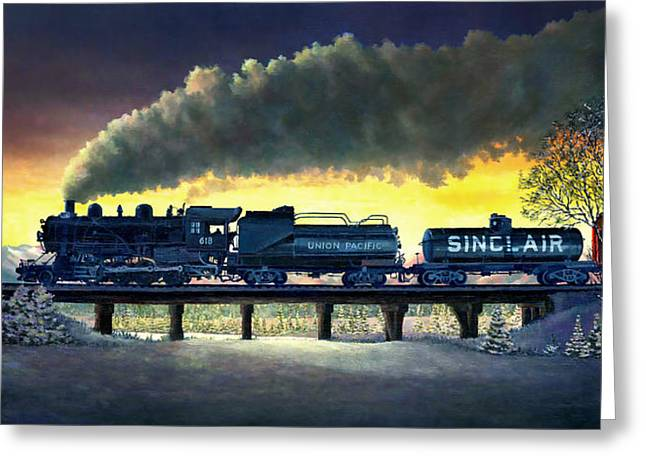 Locomotive In Winter Greeting Card