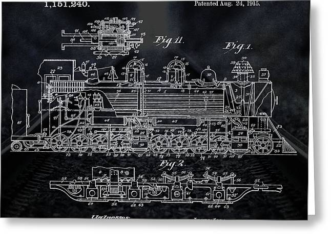 Locomotive Patent Greeting Card by Dan Sproul