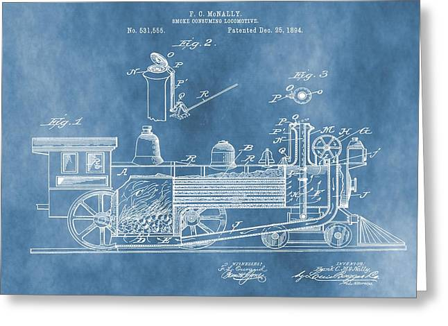Locomotive Patent On Blue Greeting Card by Dan Sproul