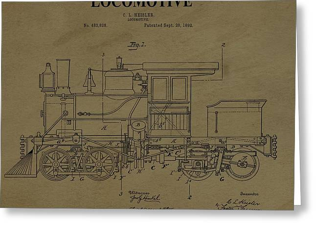 Locomotive Patent Postcard Greeting Card by Dan Sproul