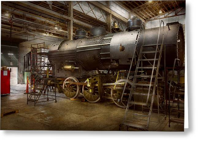 Locomotive - Repairing History Greeting Card by Mike Savad