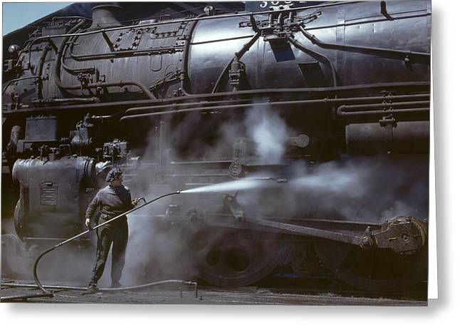 Locomotive Wiper In Clinton Iowa 1943 Greeting Card by Mountain Dreams