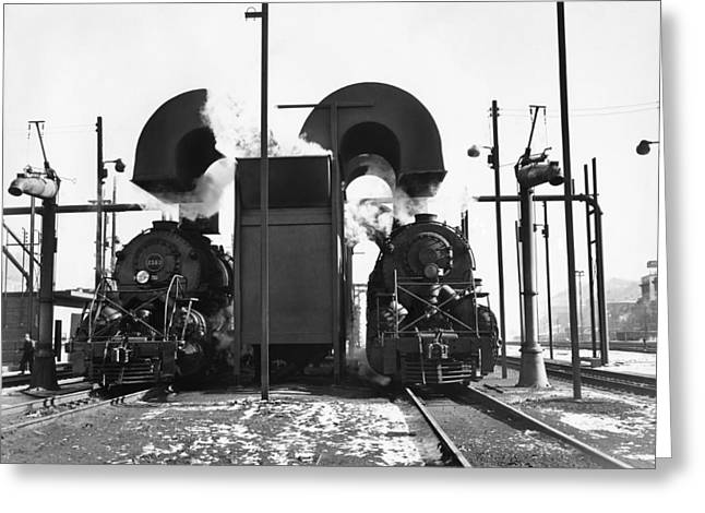 Locomotives In A Railway Yard Greeting Card by Underwood Archives