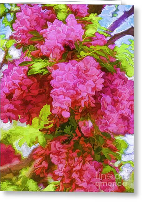 Locust Blooms-painted-2 Greeting Card by Nancy Marie Ricketts