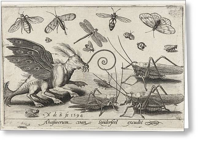 Locusts And Fantasy Creature With Wings And Webbed Greeting Card by Nicolaes De Bruyn