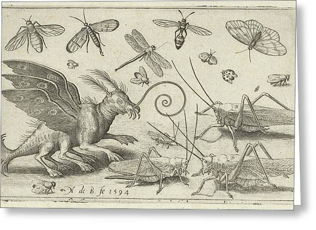 Locusts And Fantasy Creature With Wings, Nicolaes De Bruyn Greeting Card