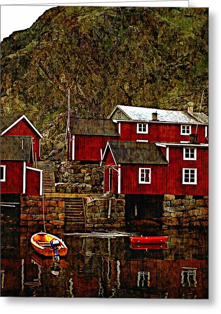 Lofoten Fishing Huts Overlay Version Greeting Card by Steve Harrington