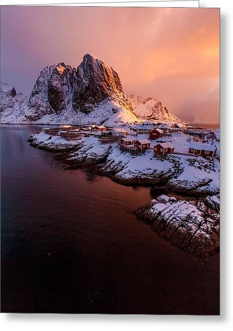 Lofoten Landscape Greeting Card by Alex Conu