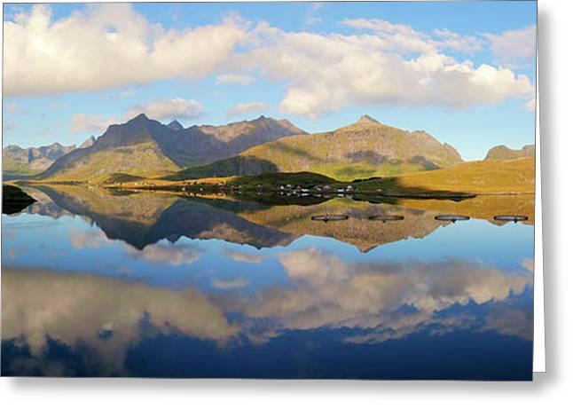 Lofoten Panorama Selfjorden Norway Greeting Card by Heiko Koehrer-Wagner