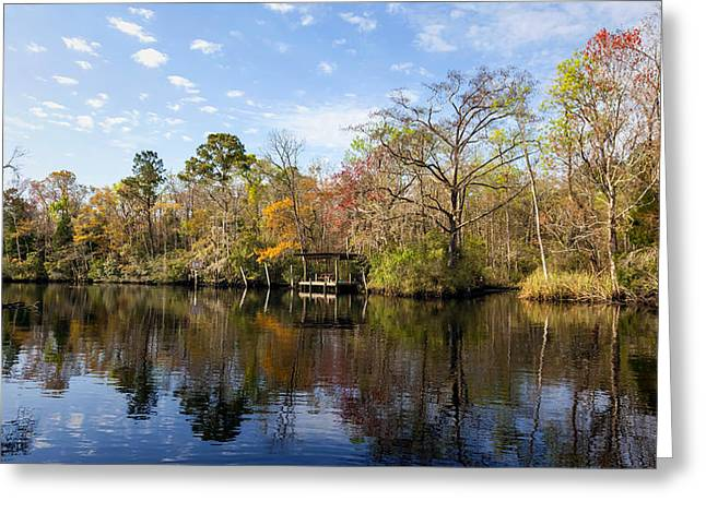 Lofton Creek Dock Greeting Card by Lynn Palmer