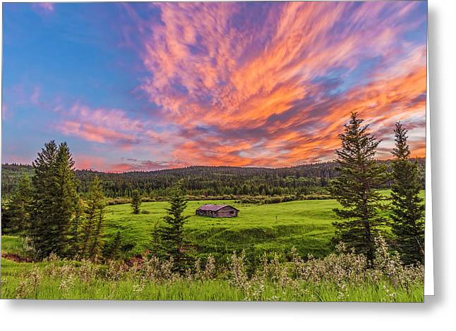 Log Cabin At Sunset Greeting Card by Alan Dyer