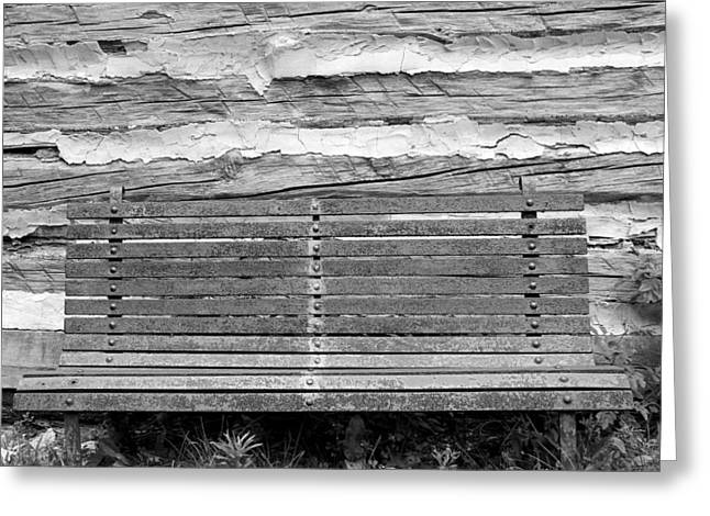 Log Cabin Bench 1 Black And White Greeting Card by Mary Bedy