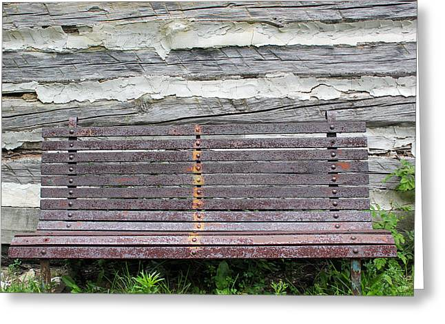 Log Cabin Bench 1 Greeting Card by Mary Bedy