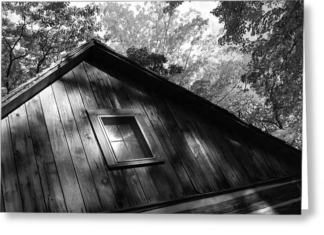 Log Cabin Bw Version Greeting Card