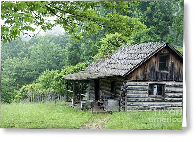 Log Cabin Fort New Salem Greeting Card by Thomas R Fletcher
