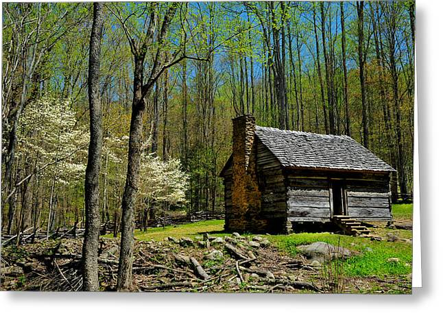Log Cabin In The Smoky Mountain National Park Greeting Card