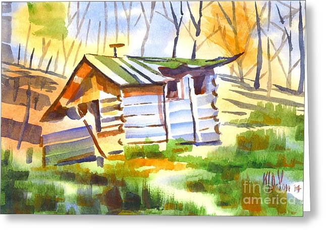Log Cabin In The Wilderness Greeting Card by Kip DeVore