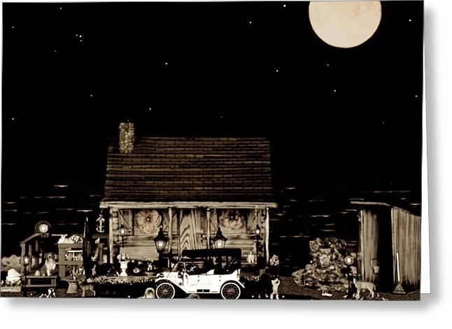 Log Cabin Scene  With The Old Vintage Classic 1913 Buick Model 25 In Sepia Color Greeting Card by Leslie Crotty